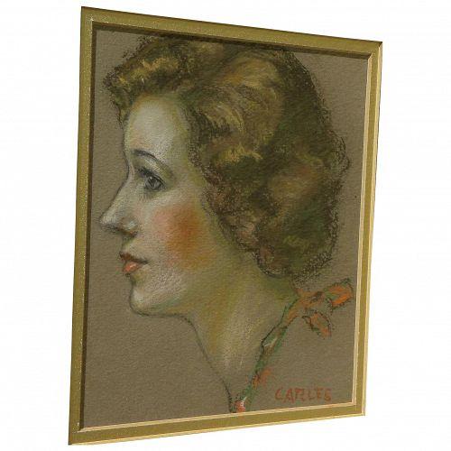 Fine vintage pastel portrait of a lady signed Carles