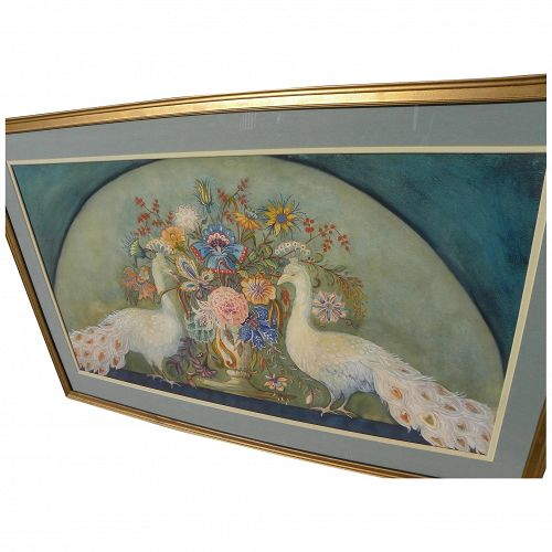 Decorative large watercolor painting of flowers and peacocks signed with initials