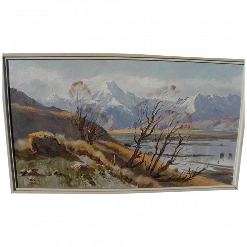 ASTON GREATHEAD (1921-2012) New Zealand art panoramic landscape painting of Mount Cook region