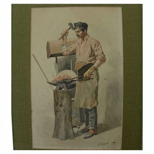 Italian signed late 19th century watercolor painting of a blacksmith at his trade