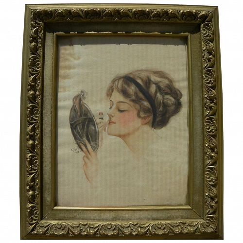 Gibson-style American 1910 watercolor painting of young woman applying her makeup
