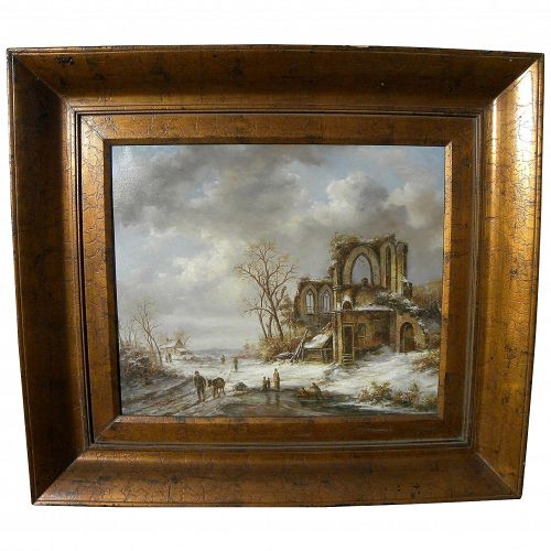 Highly decorative contemporary Dutch 19th century style landscape painting