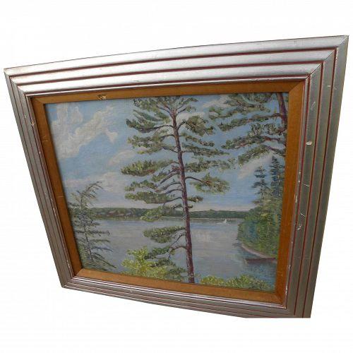 Ohio exhibited vintage 1938 impressionist lake landscape painting by artist JACOB HORAK