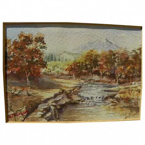 Signed impressionist small mountain landscape watercolor painting