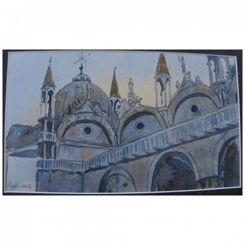 Signed watercolor painting of a church or cathedral possibly Venice or Mexico