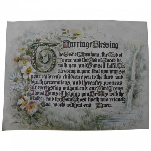 Charming printed marriage blessing with elaborate hand watercolor painting