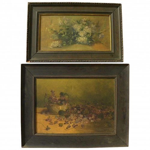 Circa 1900 PAIR American still life paintings signed L. F. Haftzger