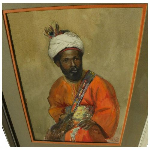 Orientalist vintage watercolor painting signed with initials