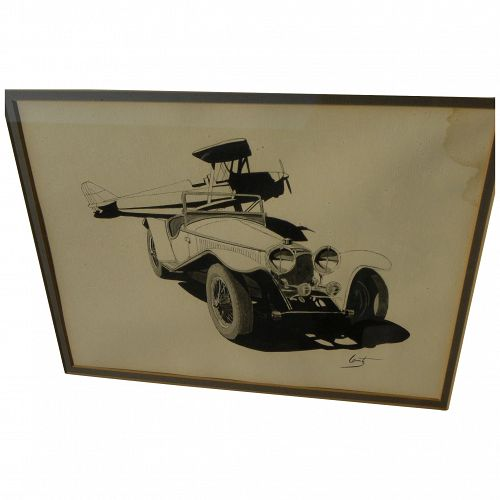 Original illustration art ink drawing of old biplane and early car signed Lantz