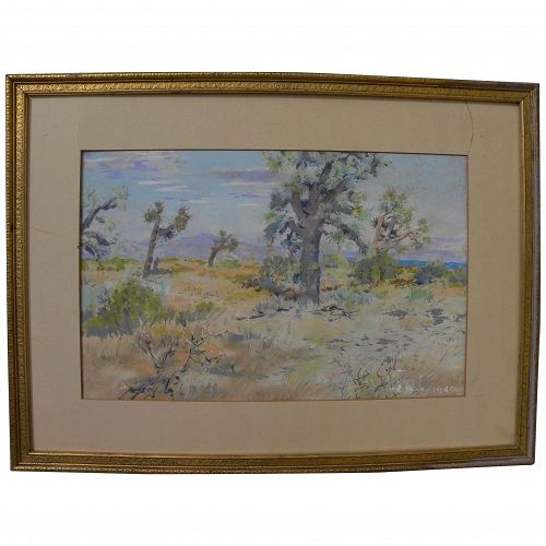 California plein air art impressionist 1940 pastel drawing of joshua trees in a high desert landscape