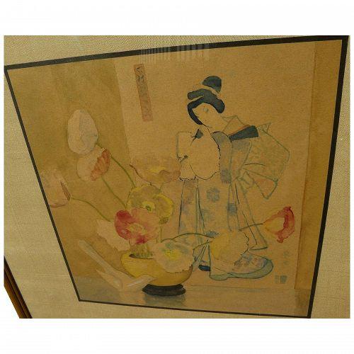 Asian art original Japanese watercolor still life painting