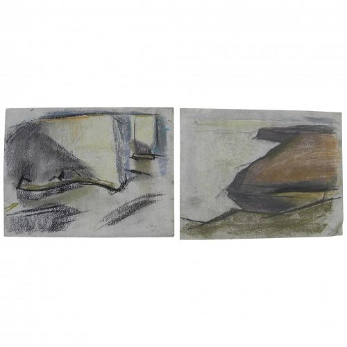 JAMES FRY (1911-1985) **pair** pastel landscape drawings of cliffs and hills by noted English artist