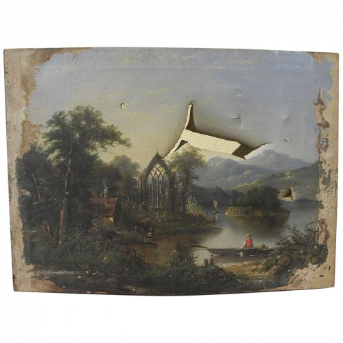 Fine American Hudson River School damaged painting restoration candidate