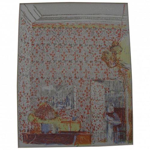"EDOUARD VUILLARD (1868-1940) posthumous edition color lithograph ""Interieur aux Tentures Roses I"" printed 1948 by Mourlot"