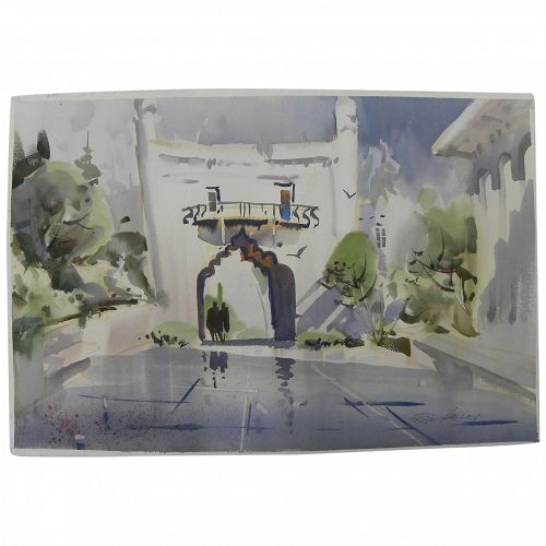 ROBERT LANDRY (1921-1991) watercolor painting of exotic architecture by noted San Diego artist