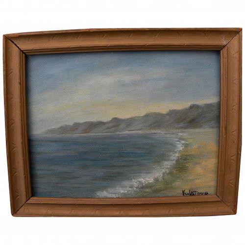 California plein air art small painting coastline at Santa Monica
