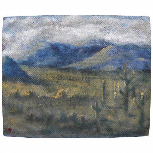 Decorative small painting of southwestern desert landscape