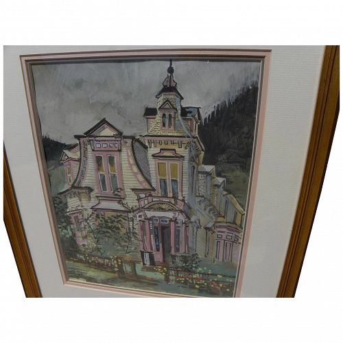 Colorado art 1950's signed gouache painting of Victorian house