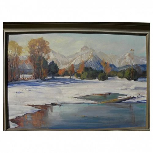 American impressionist painting early winter in the western mountains