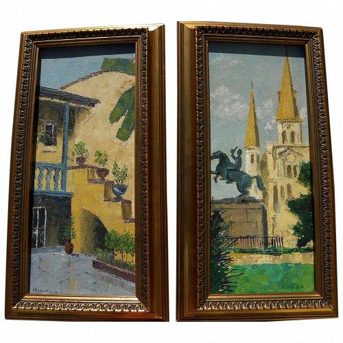 GEORGE DRUMMOND MANSFIELD New Orleans Louisiana art PAIR signed impressionist paintings