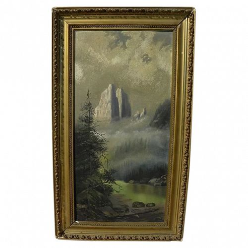 Old western mountain landscape painting