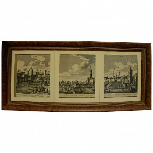 Three circa 1700 engravings of European city scenes likely German