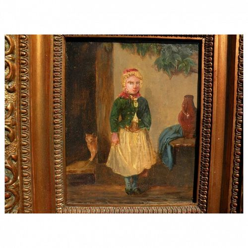 Antique 19th century German painting of a young girl and cat in courtyard