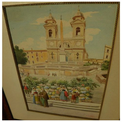 Italian 19th century watercolor painting of figures on the Spanish Steps in Rome signed CONTI