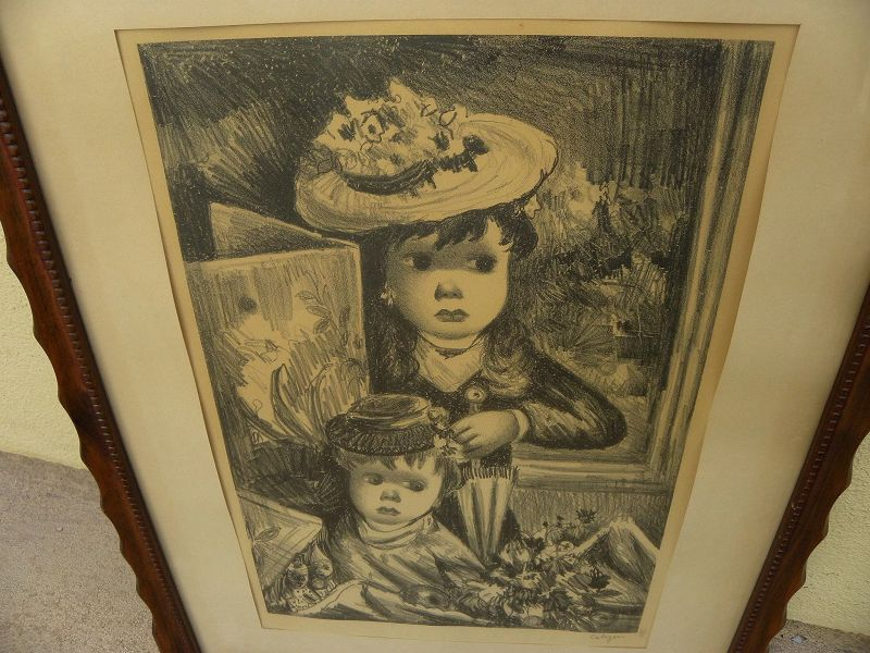 """JEAN CALOGERO (1922-2001) Associated American Artists lithograph """"The Little Sisters"""" by Italian-American artist"""