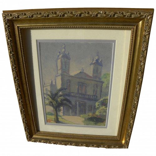 Colonial church vintage watercolor or monotype