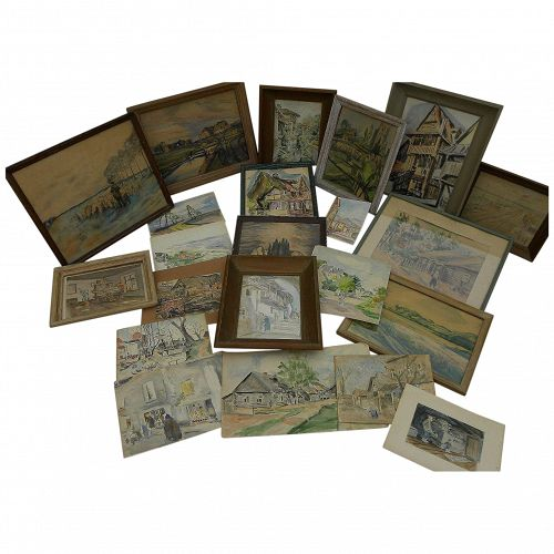Group of 21 watercolor 1940's paintings of Old World scenes by German artist