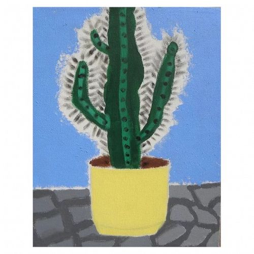 Contemporary Southwest art whimsical painting of a potted cactus