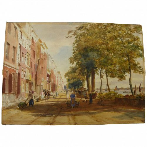 Large detailed 19th century watercolor coastal city scene probably Dutch