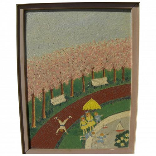 Naive 1960's painting of children playing in the park in spring signed F. Sale