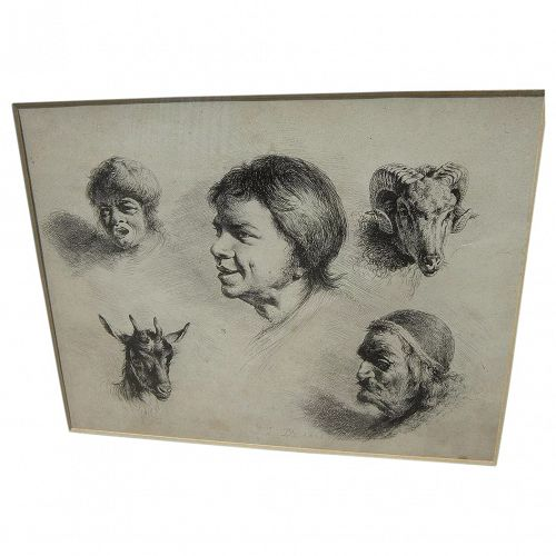 """JEAN-JACQUES DE BOISSIEU (1736-1810) fine old etching """"Cinque Tetes"""" (Five Heads)�"""