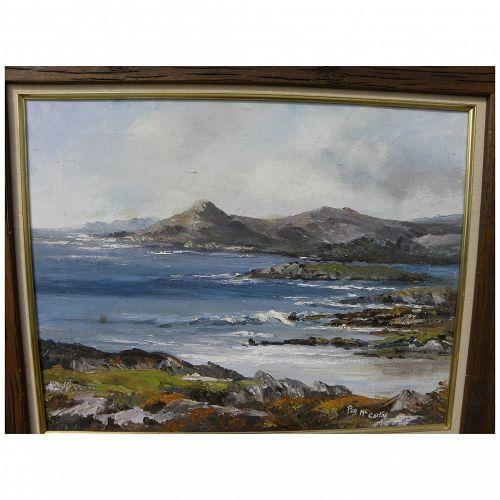 Impressionist coastal seascape painting likely British Isles signed Peg McCarty