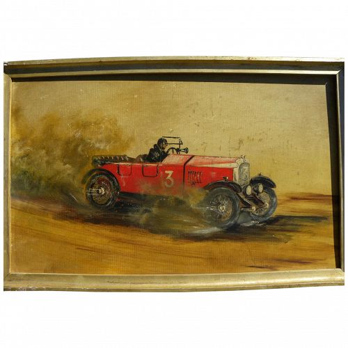 Automobilia painting of early race car