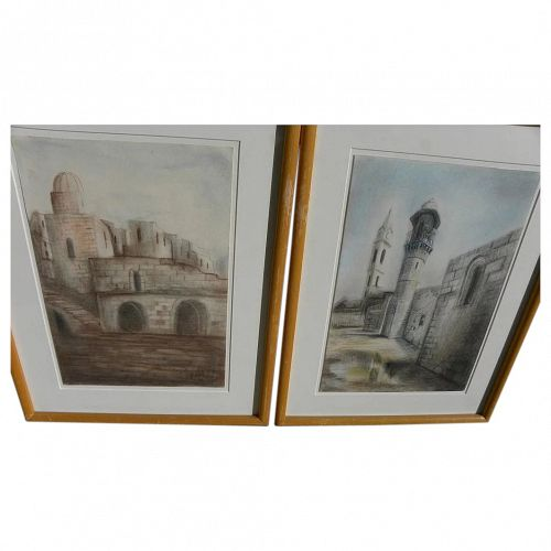 Jewish art PAIR of pastel drawings of architecture possibly Safed or Jerusalem