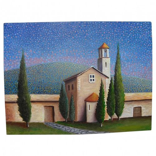 Naive style contemporary painting of a church in Cortona---Tuscany, Italy