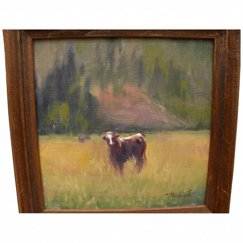 Contemporary American impressionist painting of young cow in a meadow signed Hutcheson