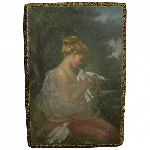 Impressionist painting young woman with doves in landscape signed with initials dated 1897