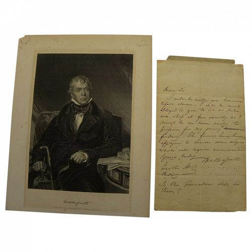 Rare handwritten signed letter by SIR WALTER SCOTT (1771-1832)