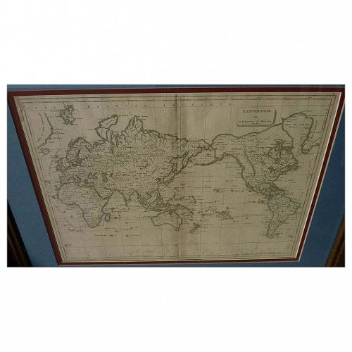 Antique Mercator projection world map circa early 19th century