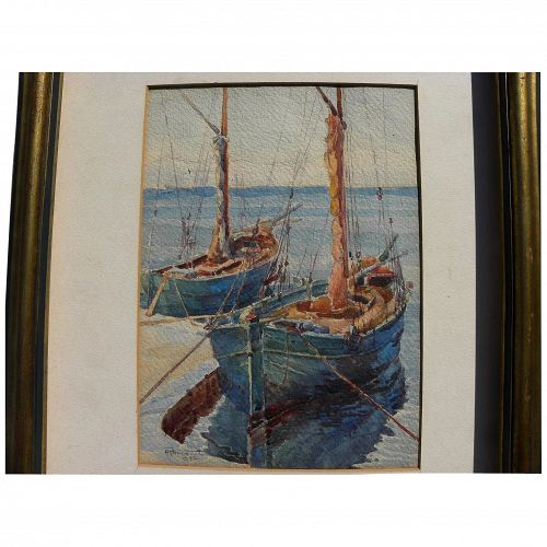 ANDRE ROMANET French 1932 watercolor painting docked boats
