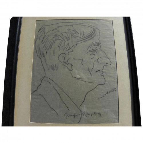 JOACHIM RINGELNATZ (1883-1934) self portrait pencil drawing by important German artist and author