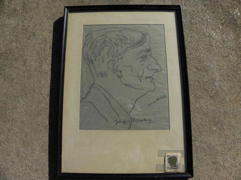 JOACHIM RINGELNATZ (1883-1934) self portrait pencil drawing by important German artist and author