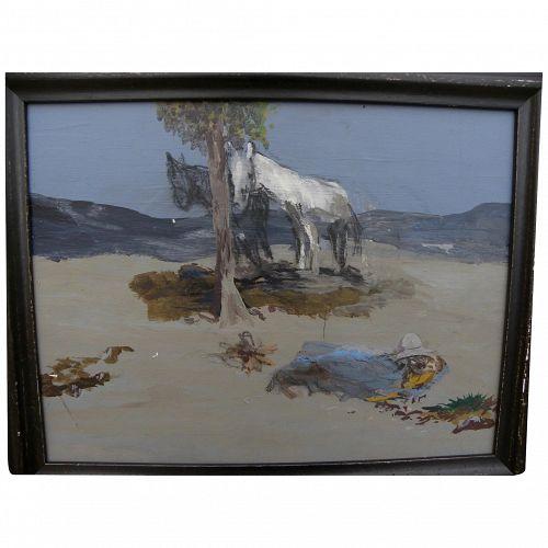 Western painting horses in desert landscape James Swinnerton or Bill Bender