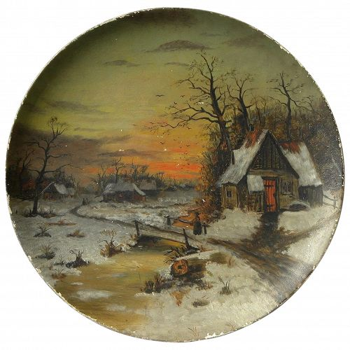 American 19th century landscape painting on round papier mache style platter