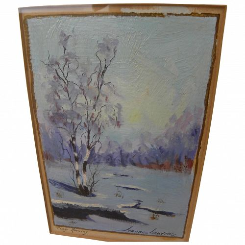 """JEANNE LAURENCE (1887-1980) Alaskan art small painting """"Frosty Morning"""" by the wife of famed painter Sydney Laurence"""