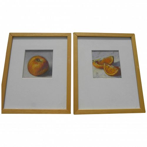 JOHN KELLEY **pair** of pastel drawings of fruit by contemporary Alabama artist